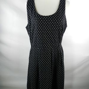 Elle Size 14 Women's Dress Black Full Skirt Polka